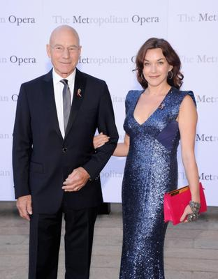 """NEW YORK, NY - SEPTEMBER 23:  Patrick Stewart and Sunny Ozell attend the Metropolitan Opera Season Opening Production Of """"Eugene Onegin"""" at The Metropolitan Opera House on September 23, 2013 in New York City.  (Photo by Jamie McCarthy/Getty Images)"""