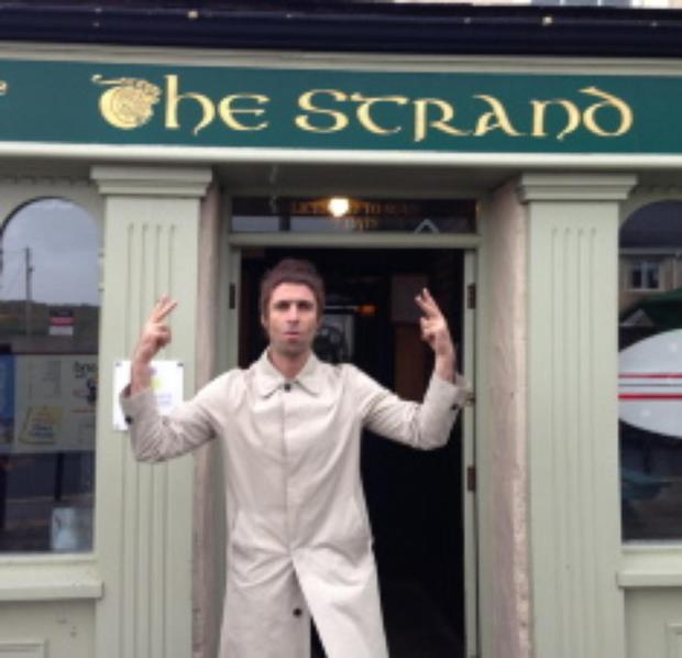 Liam Gallagher paid a visit to the Strand bar in Strandhill Co Sligo where he had a pint with a pal in September.