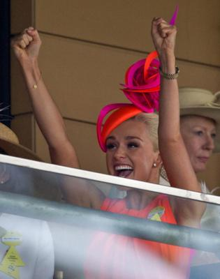 Katherine Jenkins cheers as she watches the racing