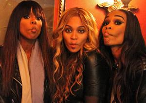 Beyonce messes around with Destiny's Child band members Kelly Rowland (left) and Michelle Williams (right)
