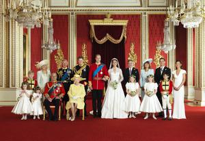 The Royal Wedding Group in the Throne Room at Buckingham Palace on 29th April 2011