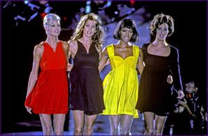 Crawford with her fellow supermodels of the era at the Versace fashion show in 1991 (left to right) Linda Evangelista, Naomi Campbell and Christy Turlington