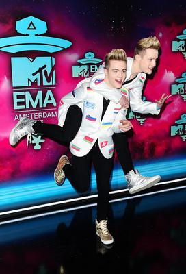 Jedward arriving for the 2013 MTV Europe Music Awards at the Ziggo Dome in Amsterdam, Netherlands. PRESS ASSOCIATION Photo. Picture date: Sunday November 10, 2013. See PA story SHOWBIZ MTV. Photo credit should read: Ian West/PA Wire