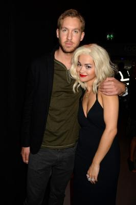 Calvin Harris and Rita Ora pose during the MTV EMAs 2013