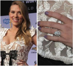 ScarJo gave a fresh look at her HUGE engagement ring to French journalistRomain Dauriac.