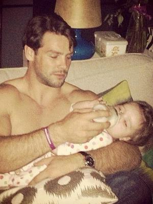 Wife Una Healy posted this cute picture of rugby husband Ben Foden tackling some bottle feeding with baby Aoife.