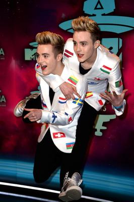 John and Edward Grimes of Jedward attend the MTV EMA's 2013 at the Ziggo Dome on November 10, 2013 in Amsterdam, Netherlands.  (Photo by Ian Gavan/Getty Images for MTV)
