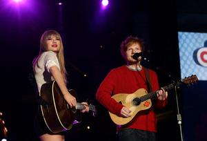 Taylor Swift and Ed Sheeran onstage at the Capital FM Summertime Ball at Wembley in London.