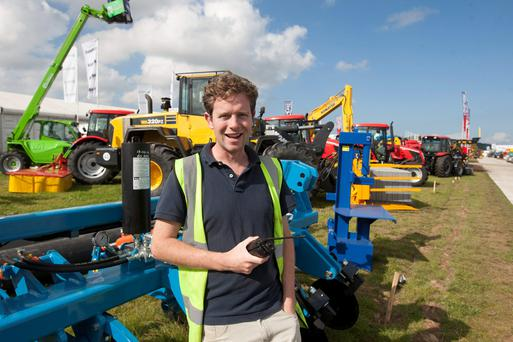 Clive Carter from the host family lending a hand on site for the National Ploughing Championships at Ratheniska, Co. Laois.