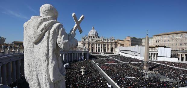 Thousands gather in St Peter's Square as Pope Benedict XVI attends his last weekly audience on February 27, 2013 in Vatican City, Vatican.