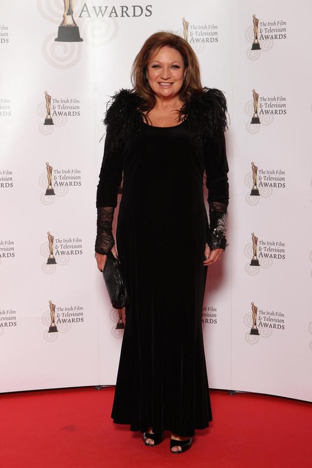 Presenter and publisher Norah Casey was glamorous in a dramatic black number.