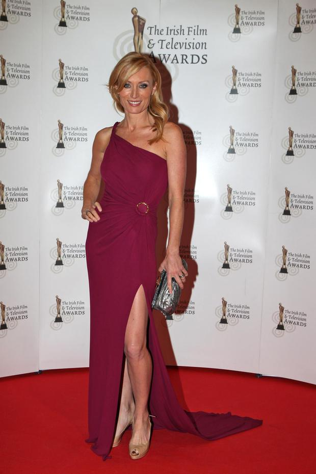 Victoria Smurfit brought a splash of colour to the night in her Grecian-style wine-coloured dress and also showed off some serious leg bombing .