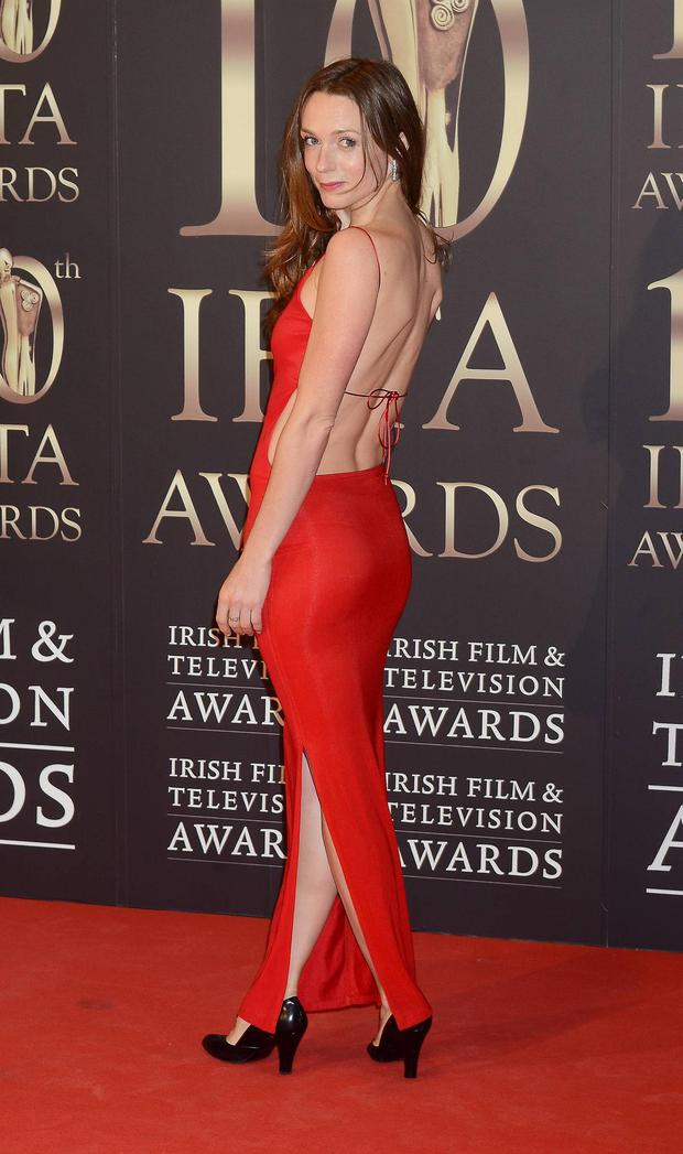 Actress Kerry Condon chose a slinky red number.