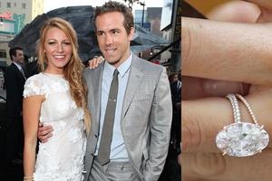 Ryan Reynolds didnt just put a ring on it, he put a very big ring on it.  He chose a light pink oval diamond in a gold rose setting for his Gossip Girl. The couple got married on September 9 of this year.