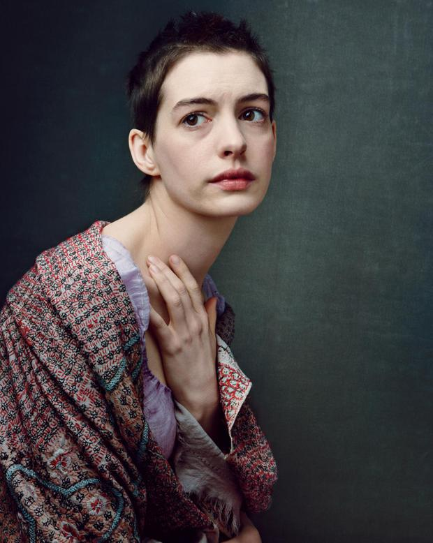 Actress Anne Hathaway who played poverty stricken prostitute Fantine in the movie adaptation of Les Miserables.