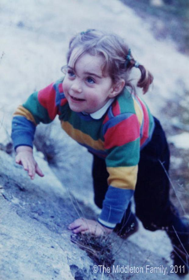 1985: A photo taken from the Middleton family album of Kate Middleton aged three on holiday in the Lake District Picture: THE MIDDLETON FAMILY