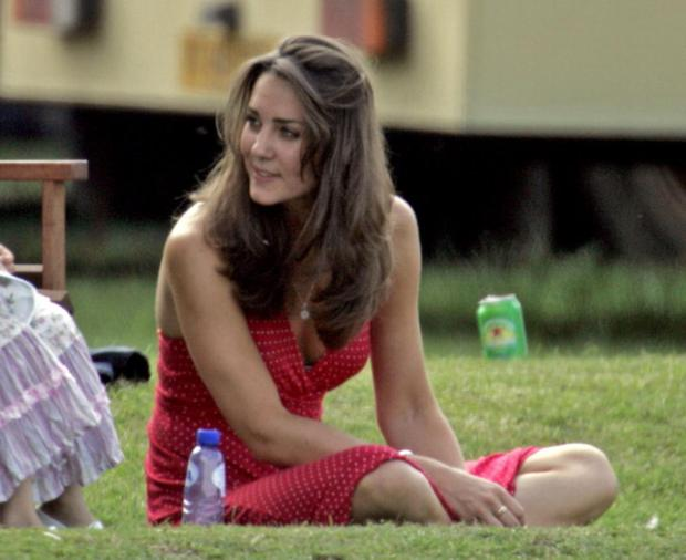 We'd never see Kate Middleton wearing a halter dress with plunging neckline like she did in 2006 at a Ham Polo Club on June 17, 2006 in Richmond, England. (Photo by Indigo/Getty Images)