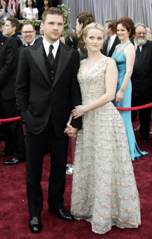 Reese Witherspoon wed Ryan Philippe, whom she met on the set of Cruel Intentions, when she was 21 years old and six months pregnant. They split seven years later in 2007 and she is now remarried to Jim Toth.