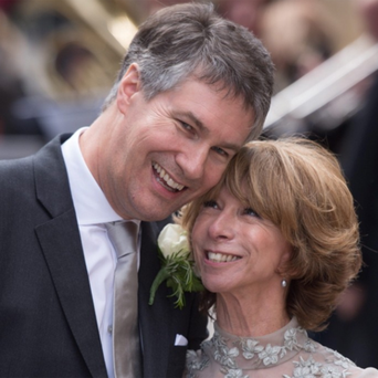 Coronation Street actress Helen Worth, who plays Gail Platt in the popular television soap opera, leaves St James Church in London, with her husband Trevor Dawson, following their wedding.
