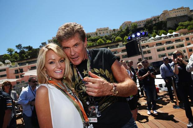 Actor David Hasselhoff and his girlfriend Hayley Roberts arrive on the Red Bull Energy Station before the Monaco Formula One Grand Prix at the Circuit de Monaco on May 26, 2013 in Monte-Carlo, Monaco.
