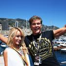 MONTE-CARLO, MONACO - MAY 26: Actor David Hasselhoff and his girlfriend Hayley Roberts arrive on the Red Bull Energy Station before the Monaco Formula One Grand Prix at the Circuit de Monaco on May 26, 2013 in Monte-Carlo, Monaco. (Photo by Mark Thompson/Getty Images)