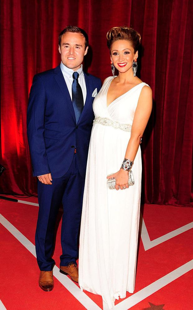 Lucy-Jo Hudson (right) and Alan Halsall (left) arriving for the 2013 British Soap Awards at MediaCityUK, Salford, Manchester.