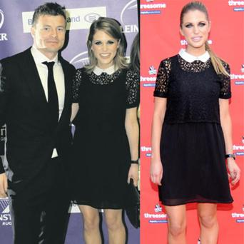 Amy Huberman recycled this black lace peter pan collar dress, wearing it to both a 'Threesome' launch and the Leinster Rugby Awards.