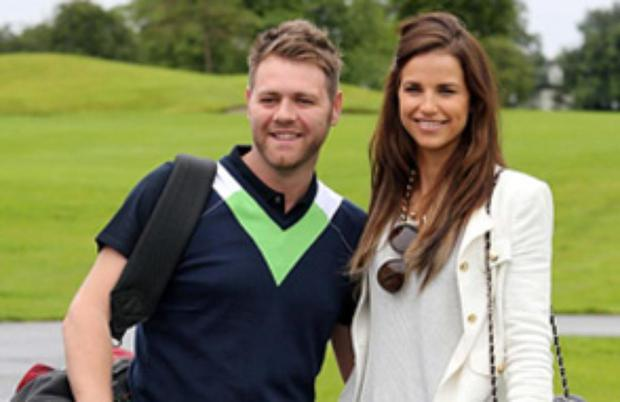 Vogue cheers on her man as he plays in Ronan Keating's golf classic.