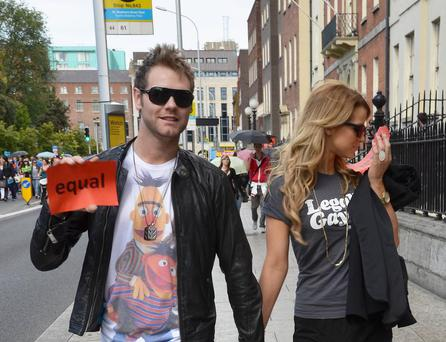 Brian McFadden and Vogue Williams at the 'Get Equal' march, looking for gay civil marriage rights in Ireland, in support of Vogue's sister Amber, who is gay.