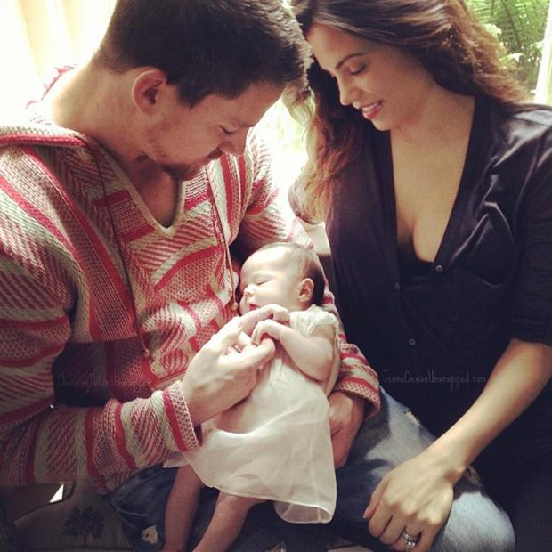 Channing Tatum posted this shot of his daughter Everly, when she was just a few days old, with his wife Jenna Dewan-Tatum.