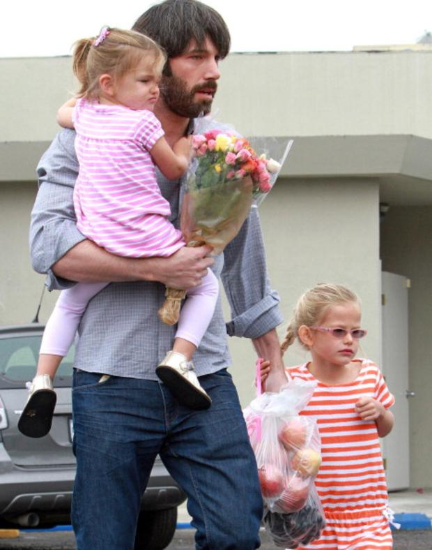 Ben Affleck with his lovely daughters Violet Affleck and Seraphina Affleck