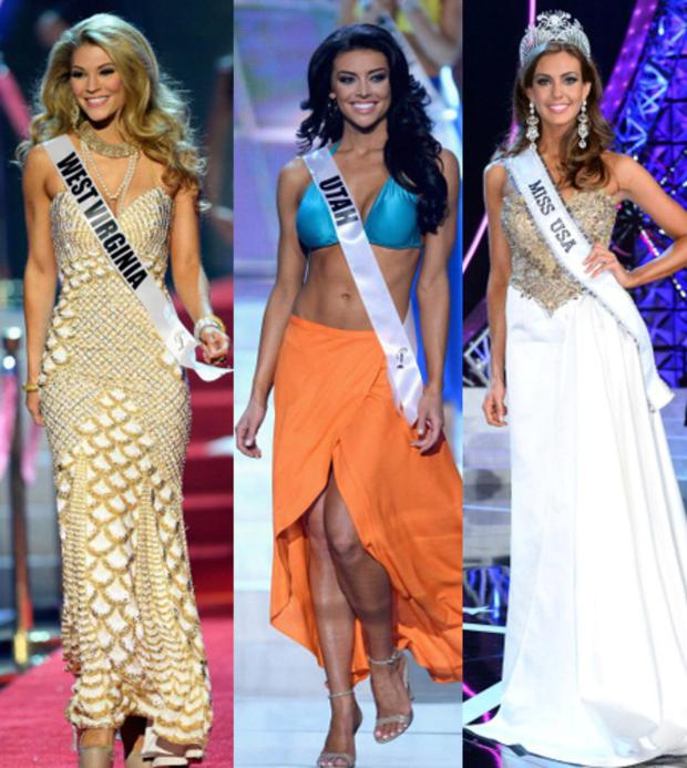 Miss West Virginia and Miss Utah and Miss Connecticut, now Miss USA at last night's pageant in Las Vegas