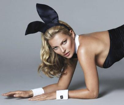 Kate Moss sports Playboys signature bunny ears, tail and cuffs as she poses for the publications 60th anniversary issue, out on Friday, November 15.