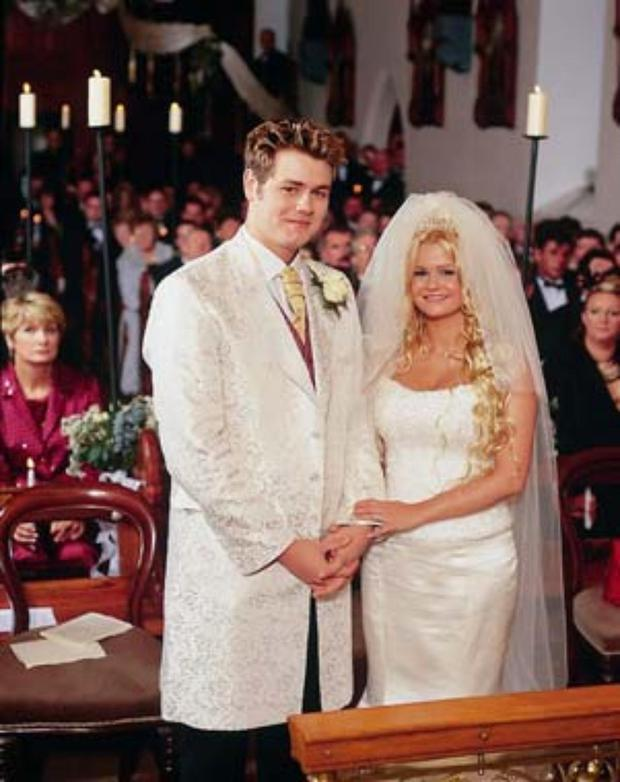 Brian - or Bryan as he styled himself back then - with Kerry Katona on their wedding day