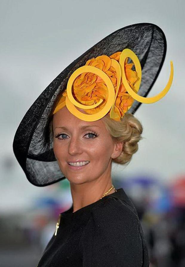 Edel Ramberg, from Galway City, wearing her own hat design for Ladies Day at the Galway Racing Festival