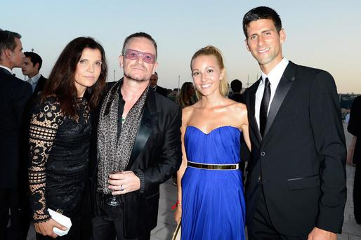 (L-R) Ali Hewson, Bono, Jelena Ristic and Novak Djokovic attend the cocktail at the 'Love Ball' hosted by Natalia Vodianova in support of The Naked Heart Foundation at Opera Garnier on July 27, 2013 in Monaco, Monaco.