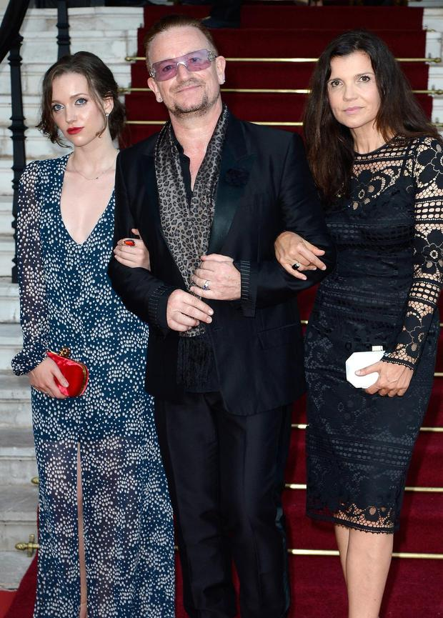 Bono (C), his wife Ali Hewson (R) and daughter Hewson Jordan (L) arrive at 'Love Ball' hosted by Natalia Vodianova in support of The Naked Heart Foundation at Opera Garnier on July 27, 2013 in Monaco, Monaco.