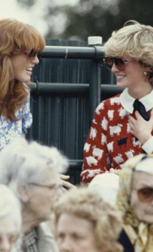 Diana, Princess of Wales (1961 - 1997) with Sarah Ferguson at the Guard's Polo Club, Windsor, June 1983. The Princess is wearing a jumper with a sheep motif from the London shop, Warm And Wonderful. (Photo by Georges De Keerle/Getty Images)