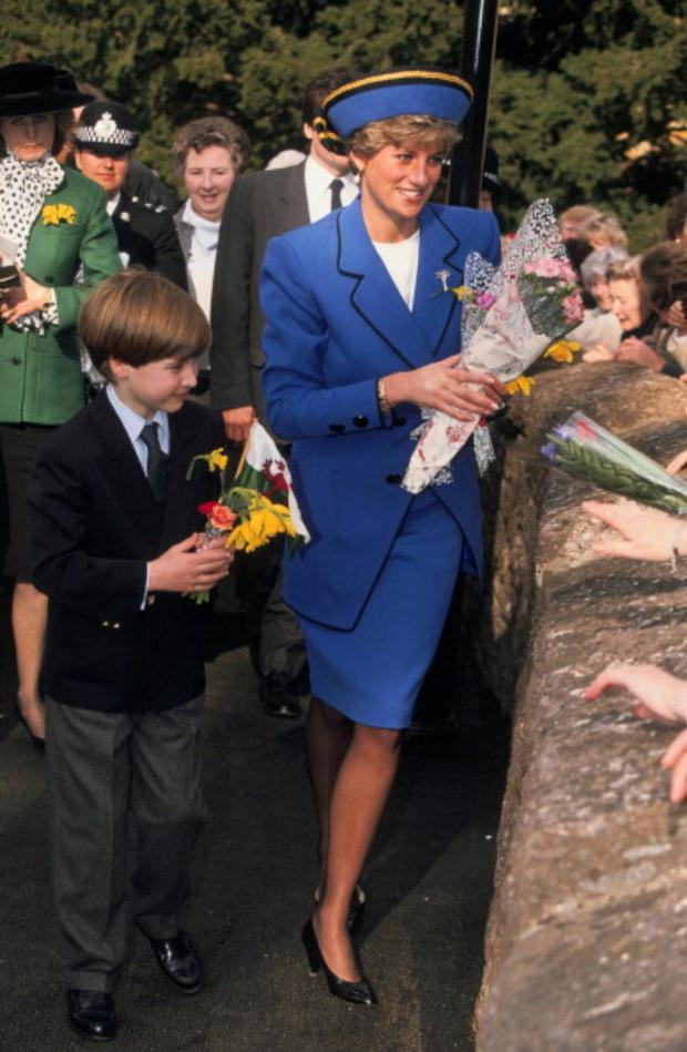 Princess Diana in Cardiff with her son Prince William at his first official engagement for St. David's Day on March 1, 1991. (Photo by Georges DeKeerle/Getty Images)