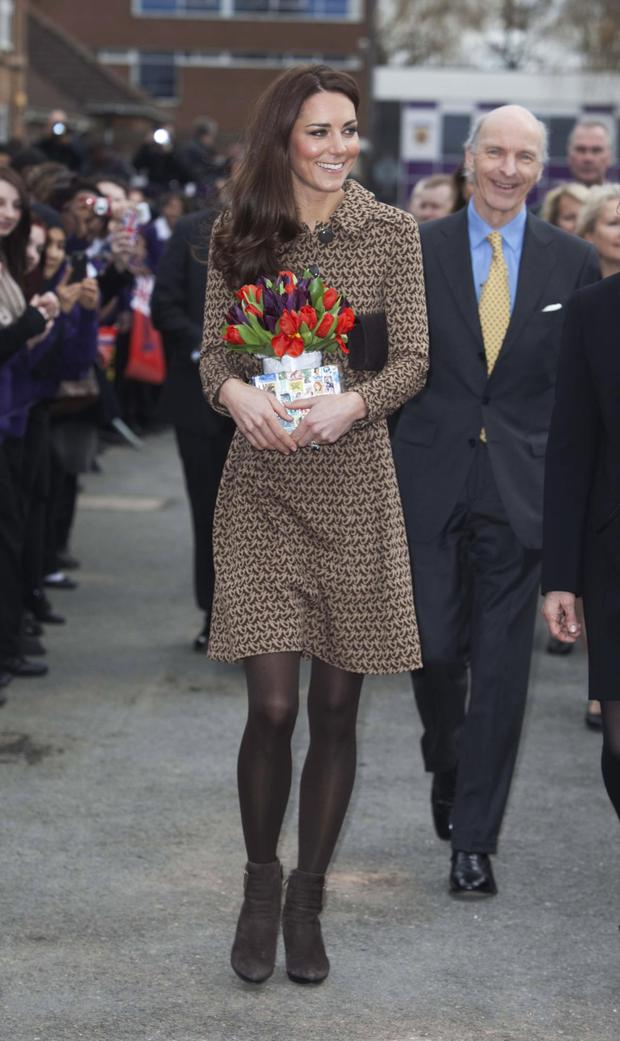 Kate in an Orla Kiely coat dress in 2012