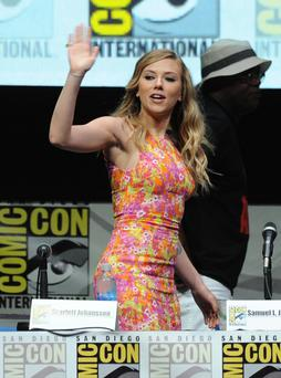 Actress Scarlett Johansson speaks onstage at Marvel Studios 'Thor: The Dark World' and 'Captain America: The Winter Soldier' during Comic-Con International 2013 at San Diego Convention Center on July 20, 2013 in San Diego, California.