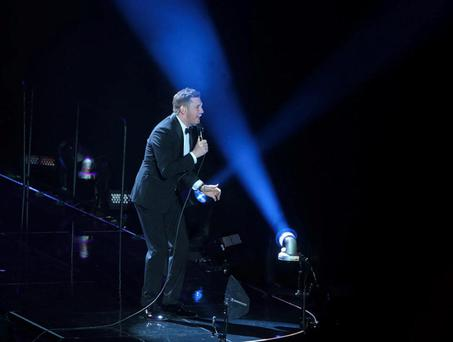 Crooner Bubl wore a tuxedo for his performance in the O2 where he will play five concerts