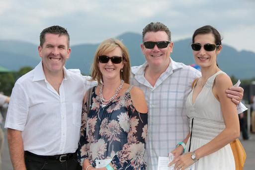 David and Helena Randles and Greg and Kym Desmond, enjoying the Killarney Races on Monday.