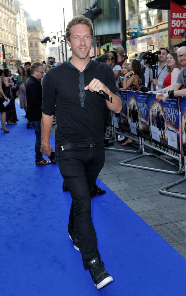 Chris Martin of Coldplay attends the World Premiere of The World's End at Empire Leicester Square on July 10, 2013 in London, England.