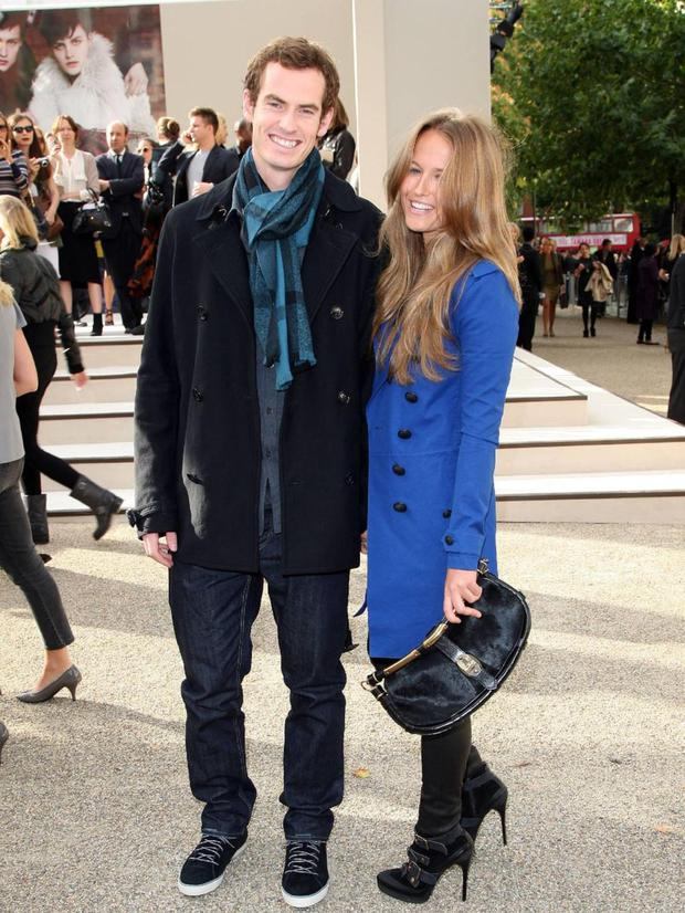 Kim Sears' coat is perfect for a burst of colour in winter. LOVE the boots.