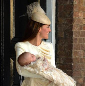 The Duchess of Cambridge wears Alezander McQueen for the christening of her first child, Prince George
