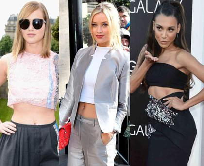 Oscar winner Jennifer Lawrence chose a crop top for the Dior show at Paris Haute Couture Week, while Irish MTV presenter Laura Whitmore and Glee's Naya Rivera are both repeat offenders.
