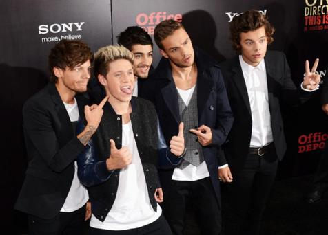NEW YORK, NY - AUGUST 26: (L-R) Louis Tomlinson, Niall Horan, Zayn Malik, Liam Payne and Harry Styles attend the world premiere of