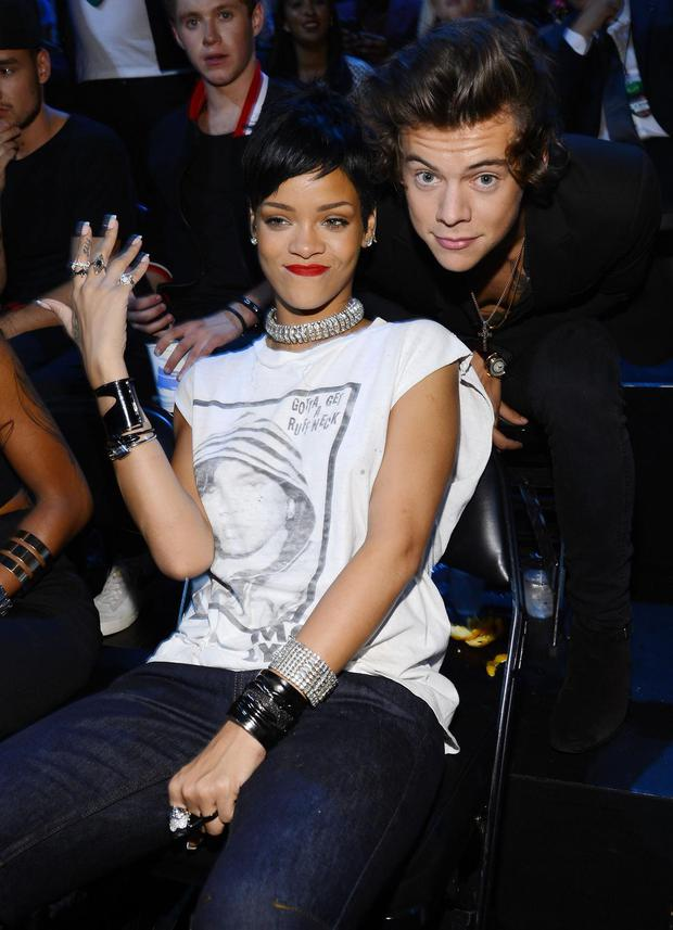 Rihanna and Harry Styles attends the 2013 MTV Video Music Awards at the Barclays Center on August 25, 2013 in the Brooklyn borough of New York City. (Photo by Larry Busacca/Getty Images for MTV)
