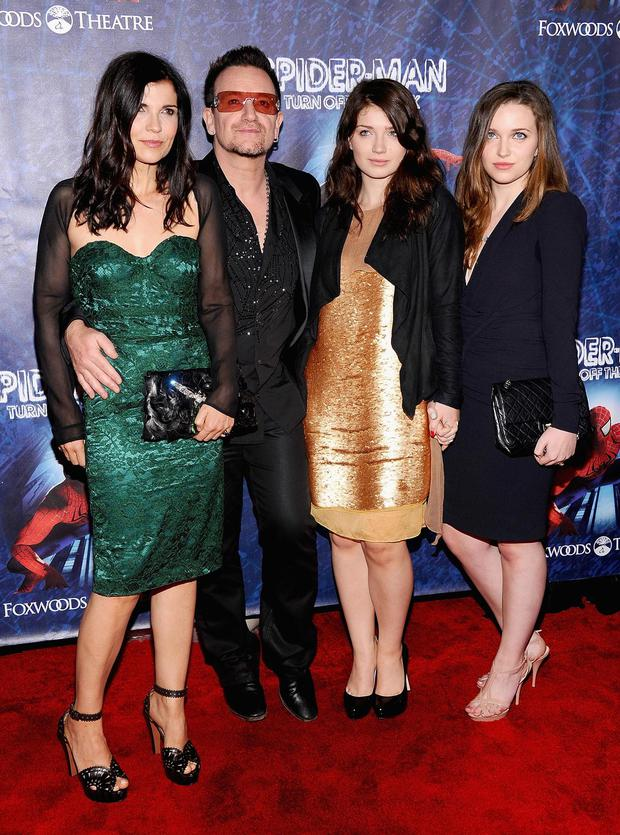 NEW YORK, NY - JUNE 14: (L-R)Ali Hewson, Bono of U2, Eve Hewson and Jordan Hewson attend 'Spider-Man Turn Off The Dark' Broadway opening night at Foxwoods Theatre on June 14, 2011 in New York City.
